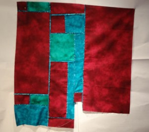 Crimson turquoise and blue green squares top