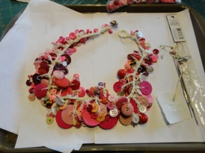 Completed Button necklace in pink and cream
