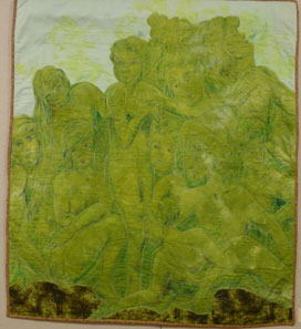 quilt with green stitched figures