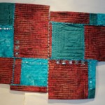 Crimson, with blue green and turquoise squares