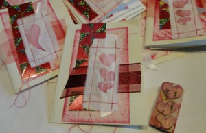 hand made valentine sin red and white