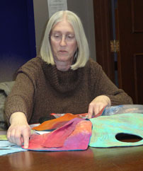 Ruth and one of her cel quilts